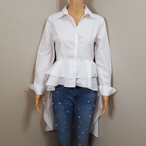 NWT Walter Baker White High-Low cotton Shirt